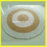 Rug Seagrass Putih Natural 120 cm / Karpet Bulat Tikar Anyaman