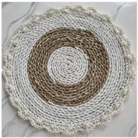 Placemat Seagrass Natural Putih Rajut Renda Diameter 37 cm
