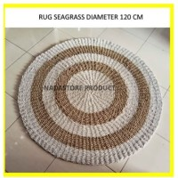 Rug anyaman 120 cm / Karpet Anyaman Seagrass / Karpet Bulat Putih Nat