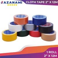 Lakban Kain Hitam 2 Inch x 12m Sazanami Cloth Tape 48mm warna Lantai