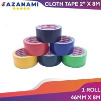 Lakban Kain Hitam 2 Inch x 8M Sazanami Cloth Tape 48 mm Linen jilid