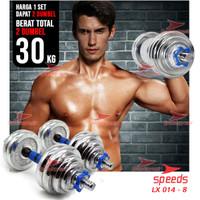 Dumbell Barbel Set Max 30kg Tiang Angkat Beban Besi 30 KG speeds 014-8