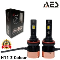Turbo Led H11 Merk AES 3 WARNA LED I Lampu led headlamp depan mobil