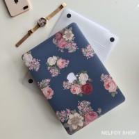 Macbook Air New 13 Mac Book Blue Flower Case Cover Hard Soft Casing