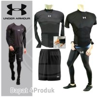 PAKET 4 IN1 Baselayer manset leging celana olahraga gym futsal Bola