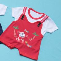 Setelan Baju Kodok Bayi 0-12 Bulan Motif Monyet - Merah