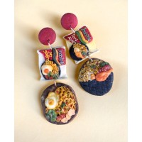 Indomie - Mie Goreng - Handmade Statement Clay Earring - Love, Rosy