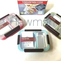 Kotak Makan Lunch Box Tedemei Sekat 2 anti tumpah BPA Free Stainless