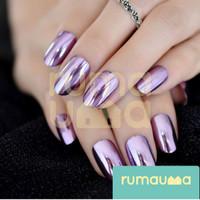RUMAUMA Metalik Kuku Palsu Cantik Nail Art Fake Glossy Manicure Korea
