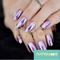 RUMAUMA Metalik Kuku Palsu Cantik Nail Art Fake Glossy Manicure Korea - GELAP