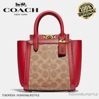 Coach Troupe Tote Sling Bag 16 In Signature Canvas Brown Original 100%
