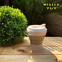 Travel mug gelas lipat silikon sillicon 350ml coffee cup foldable grey