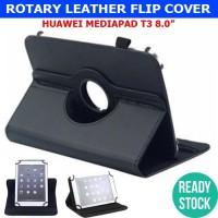 Huawei Mediapad T3 8 Inch Leather Flip Case Book Casing Cover Flipcase - Hitam