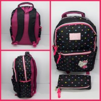 Tas Hello Kitty Hitam / Tas Sekolah / Tas Anak / Tas Ransel 19006
