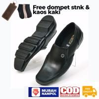 Sepatu Pantofel Pria Kulit Free Dompet Stnk Lipat 2 dan Kaos Kaki 2081