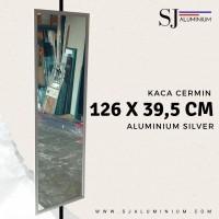 Kaca Cermin / Mirror Dinding Gantung Aluminium 126 x 39,5 CM