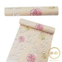 PROMO!Home Wallpaper Sticker Dinding Mawar Cream - 45cm x +/-10 m