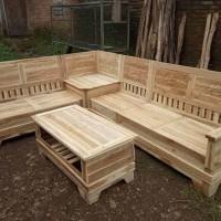 Kursi Sudut Minimalis Jati Mentah Furniture Lancar murah