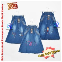 Rok Jeans Anak Motif Kartun Bordir Usia 4-10 Tahun