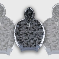SWEATER HOODIE BRANDED PREMIUM BAPE CAMO FULLPRINT LIST WHITE SIZE ML