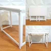 meja belajar lipat portable uk 80cm - meja kayu/meja kerja kaki putih