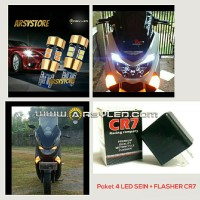NMAX Paket Lampu 4 Led Sein + Flasher T10 Ironman Astro Kuning Motor