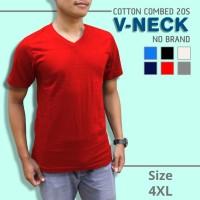 Kaos Polos V-Neck Super Cotton 20s Unisex Ukuran JUMBO XXXXL [4XL] - Putih