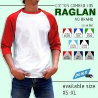 Kaos Raglan Polos Super Cotton 20s Ukuran XS-XL