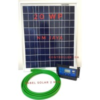 Paket Hemat Solar Cell Solar Panel 20WP DKD + Controller 10A + Kabel