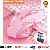 MOUSE GAMING RECHARGEABLE WIRELESS MOUSE - 2.4GHZ DAN 1600 DPI LED
