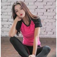 SETELAN Baju kaos Olahraga gym Fitnes senam Aerobic Hotpants PREMIUM