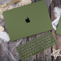 "Casing Macbook Air Hard Case 13"" Exclusive FREE Cover Keyboard - Hijau, A2179"