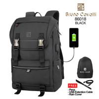 Bruno Cavalli NEW GEN Backpack USB 86018 - Tas Ransel 21L - Hitam