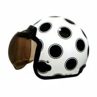 Helm Bogo / Helm Retro Igloo Moon White Black (Free Kaca Helm)