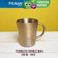 Gelas Double Wall Stainless Conalli Cangkir Kopi Gold 280ml Camping