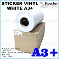 Vinyl Coating Sticker For Inkjet Printer 30 m White Gloss A3+
