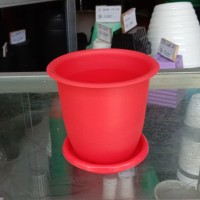 Pot Bunga Kaktus 12 + Tatakan warna merah