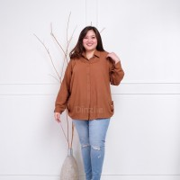 Kemeja Wanita Rayon Basic Polos Warna Choco Fit to XXXL LD 128 cm