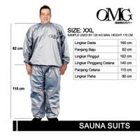 baju sauna suit XXL merk OMG hi quality - Silver