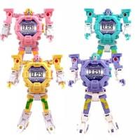 Mainan Jam Tangan Anak Deformasi Berubah Robot Digital Watch