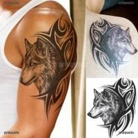 Stiker Kepala Serigala Besar Anti Air Mudah Dilepas untuk Tato