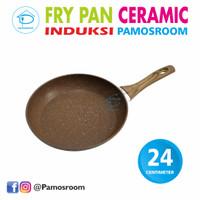 Pamosroom Fry Pan 24cm Granite Frypan Wajan Anti Lengket Gagang Kayu - Cokelat