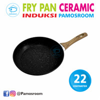 Pamosroom Fry Pan 22cm Granite Frypan Wajan Anti Lengket Gagang Kayu - Hitam