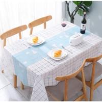 Taplak Meja Makan Modern Plastik Tablecloth Waterproof 137x180 cm - Yummy Blue