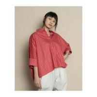 Kemeja wanita blouse tangan panjang warna merah red cherry Leya
