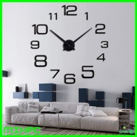 Jam Dinding 3D DIY Giant Wall Clock 90cm Diameter - 12S022 - Black
