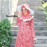 Gamis plisket/Gamis Katun/Busana Muslim Bagus Murah - Sun Rise Pink
