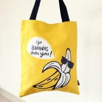 Banana Tote Yellow Bag/ Tas Tote Motif Pisang Warna Kuning