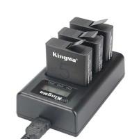 Charger Baterai Casan Batre GoPro Hero 5/6/7 3 Slot LCD Display