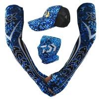 DAIWA Fishing Ice Silk Arm Sleeve +Puff headscarf Sunscreen Face